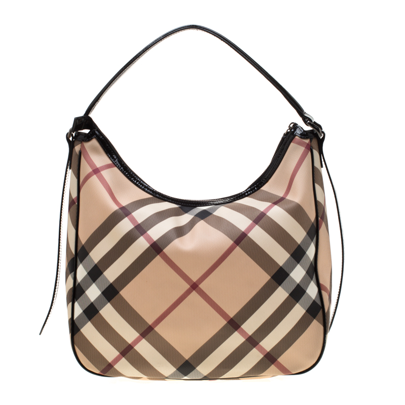 728573d31d ... Burberry Beige/Black Nova Check Coated Canvas and Leather Hobo.  nextprev. prevnext