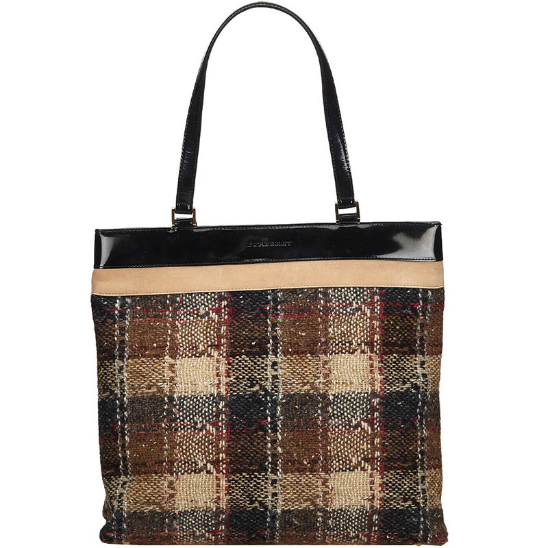 Burberry Multicolor Plaid Wool Tote Bag