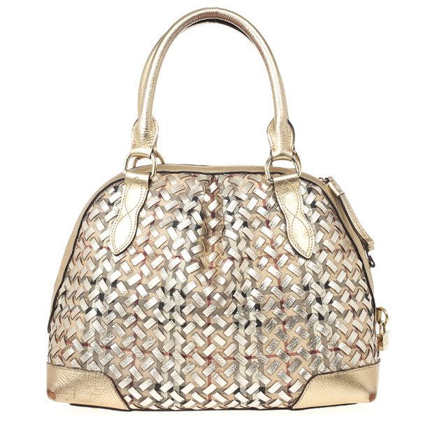 a5cd9b94f142 Buy Burberry Metallic Gold Woven Top Handle Bag 22018 at best price ...