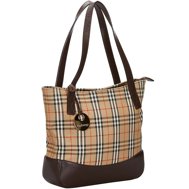 Burberry Brown/Beige Haymarket Check Canvas Leather Tote Bag  - buy with discount