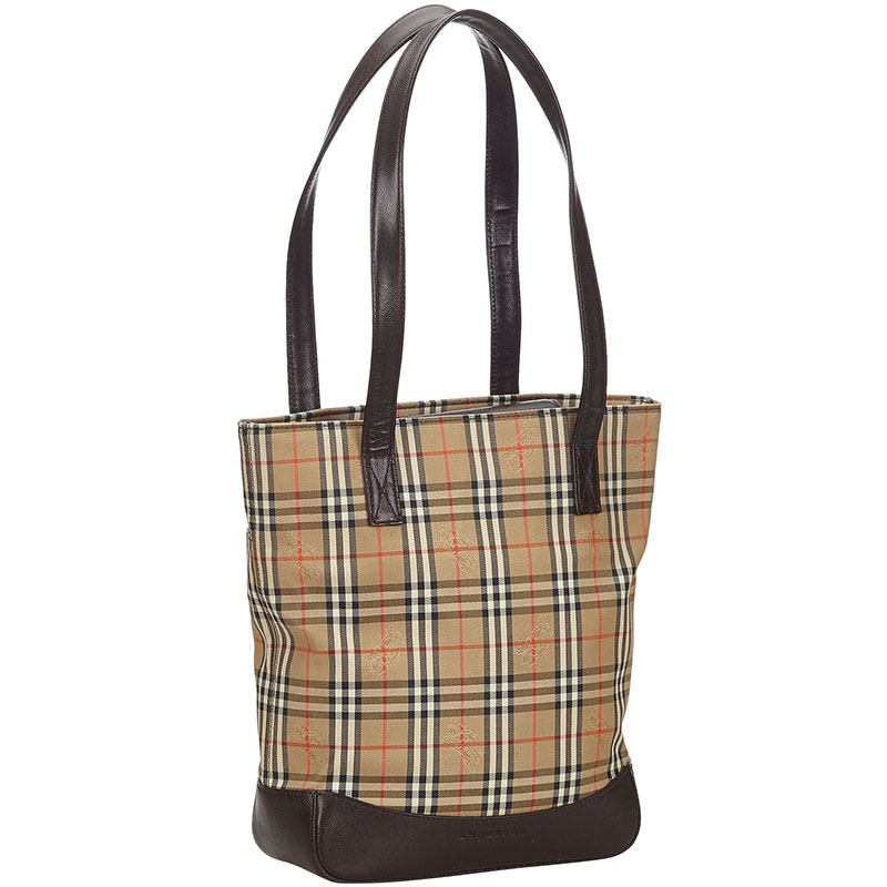 Burberry Brown/Black Haymarket Check Canvas And Leather Tote Bag  - buy with discount