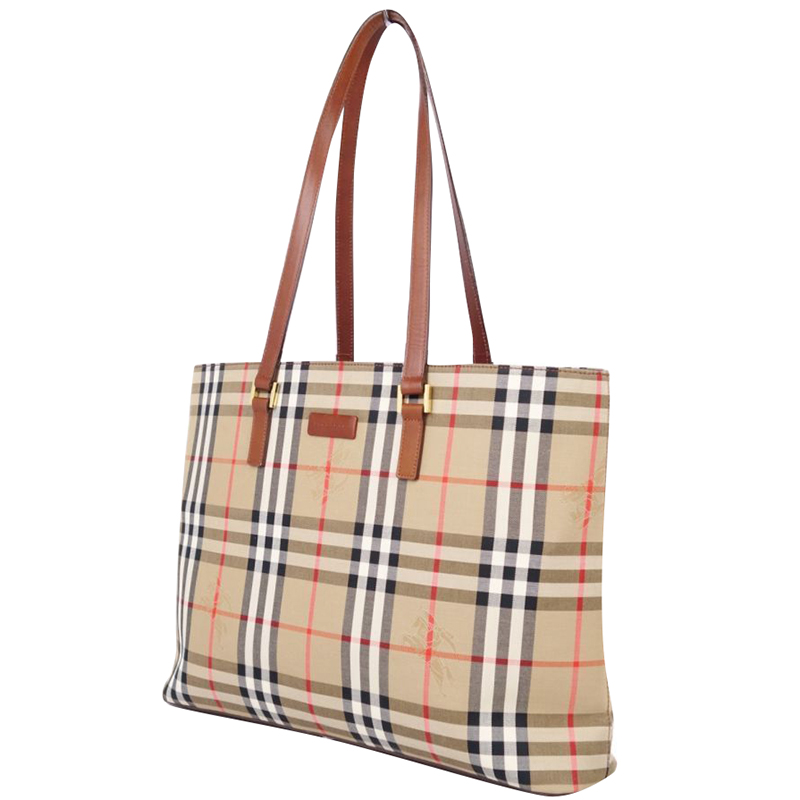 Burberry Beige/Brown Canvas Leather Horse Ferry Check Shoulder Bag