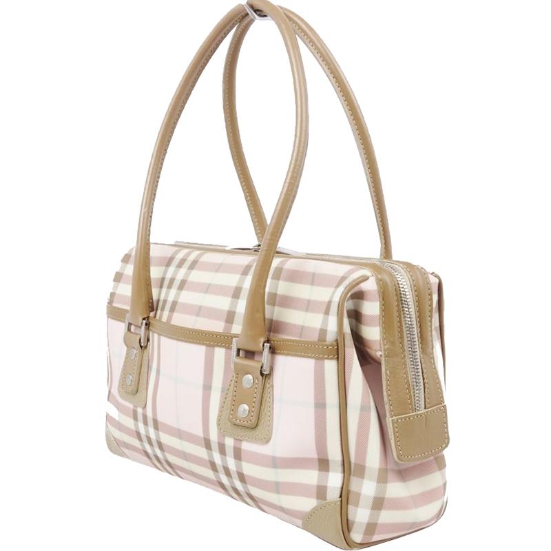 Burberry Brown/Pink PVC Leather Shoulder Bag