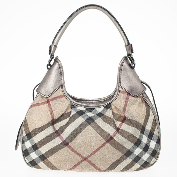 cb1b57aa82aa Buy Burberry Embossed Nova Check Coated Canvas Brooklyn Hobo Bag 23997 at  best price