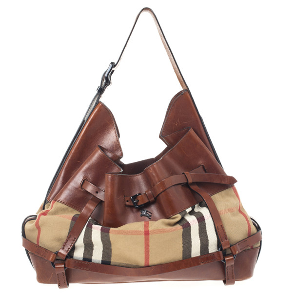 41e3e13afaa8 Buy Burberry Brown Leather Bridle House Check Hobo 24086 at best ...