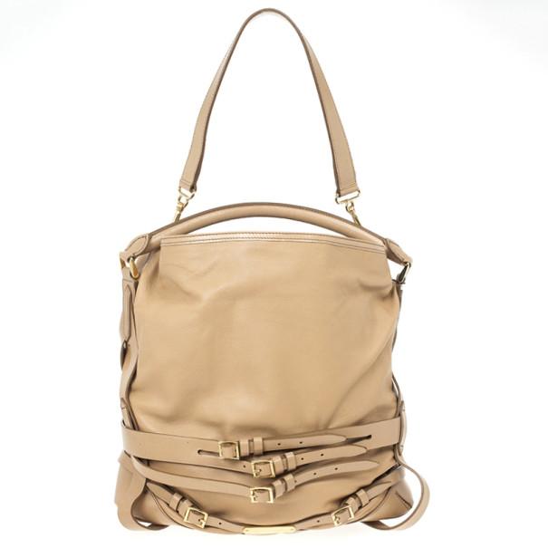8fd22dd3f052 Buy Burberry Beige Leather Medium Gosford Bridle Hobo Bag 24212 at best  price