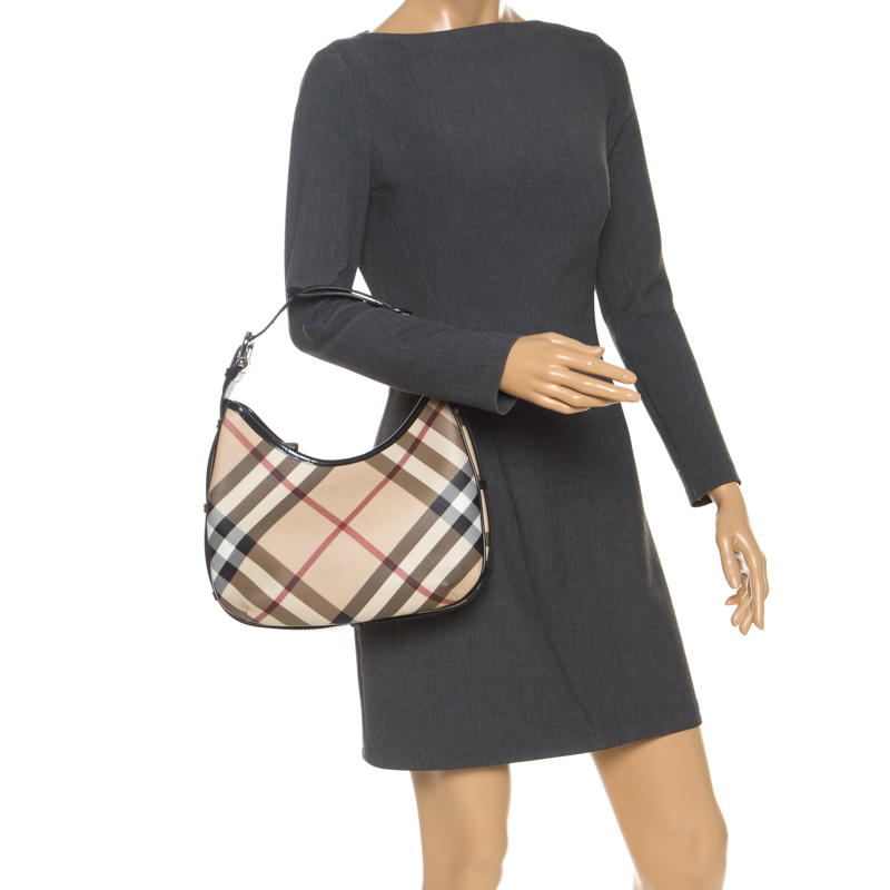 Burberry Beige/Black Nova Check Coated Canvas and Patent Leather Mini Shoulder Bag