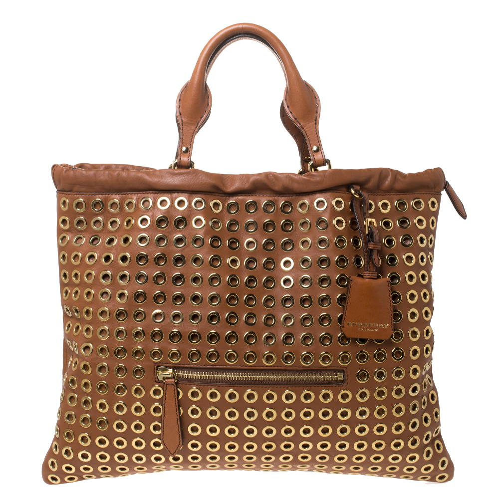 Burberry Tan Leather Grommet Big Crush Tote