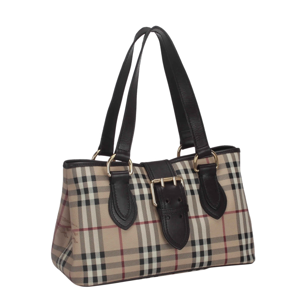 Burberry Brown Haymarket Check Canvas Tote, Beige  - buy with discount