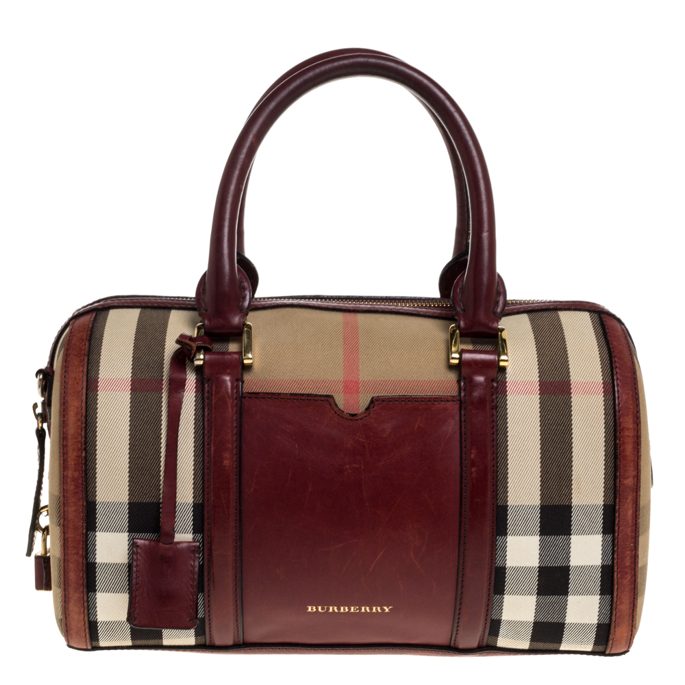 Pre-owned Burberry Beige/copper House Check Canvas And Leather Sartorial Bowler Bag