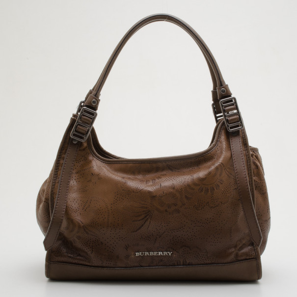 Burberry Limited Edition Nutmeg Degrade Lace Leather Large Hobo