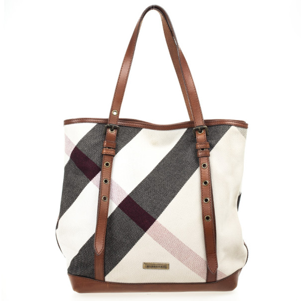4742755a085c Buy Burberry Giant Check Canvas Tote Bag 32722 at best price