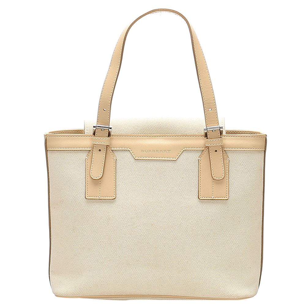 BURBERRY WHITE/BEIGE CANVAS SHOULDER BAG