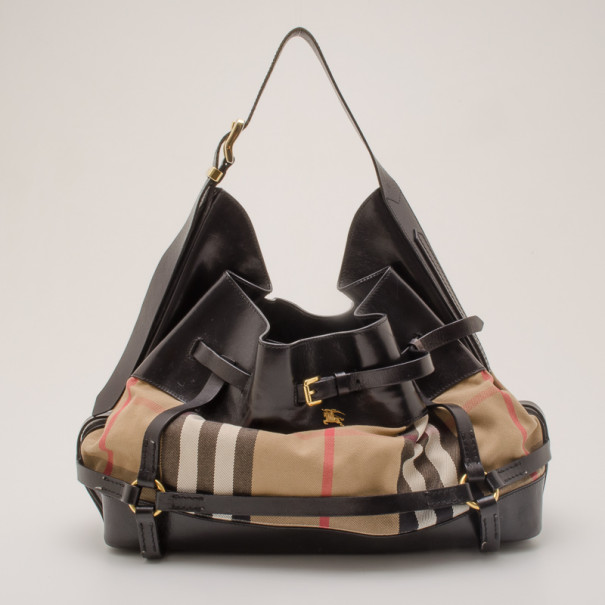 d4c6fb90cb23 Buy Burberry Black Leather Bridle House Check Hobo 36883 at best ...