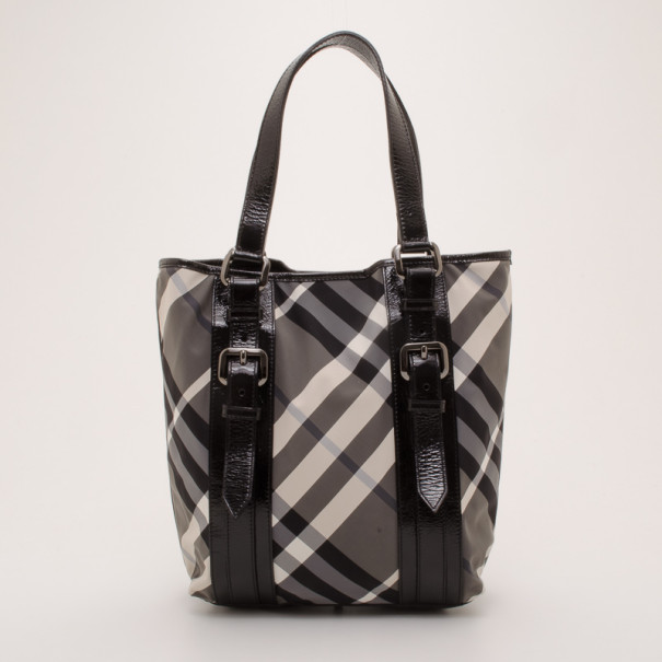 ... Burberry Black and White Nylon Nova Check Patent Trim Tote. nextprev.  prevnext eea38765b57e1