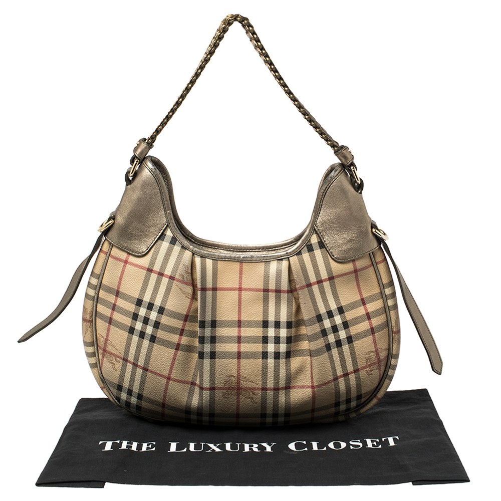 Burberry Beige/Metallic Haymarket Check PVC and Leather Chain Strap Hobo9
