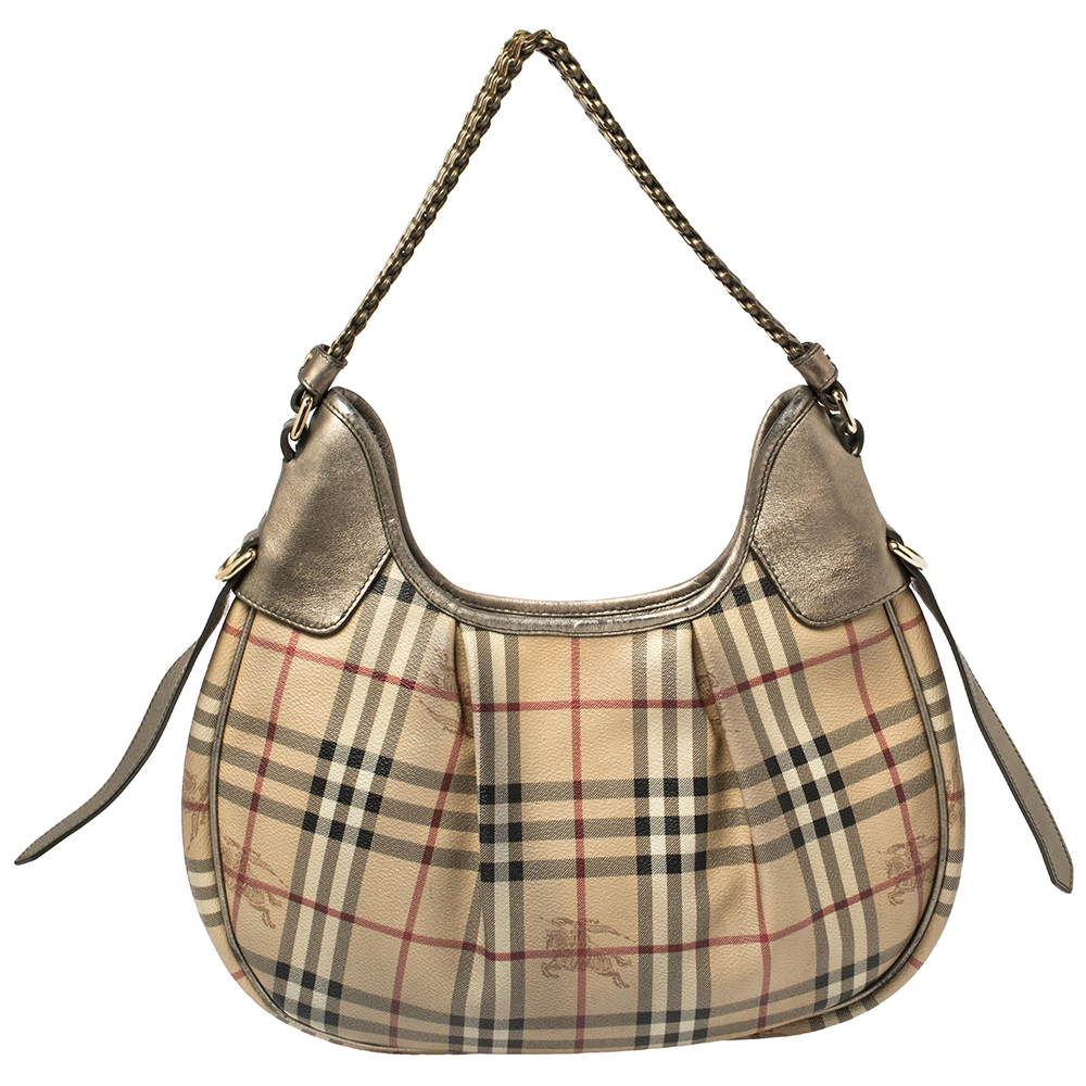 Burberry Beige/Metallic Haymarket Check PVC and Leather Chain Strap Hobo2