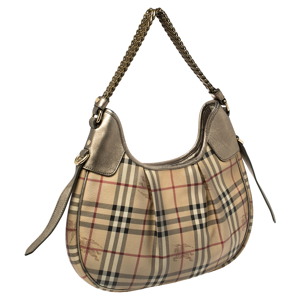 Burberry Beige/Metallic Haymarket Check PVC and Leather Chain Strap Hobo1