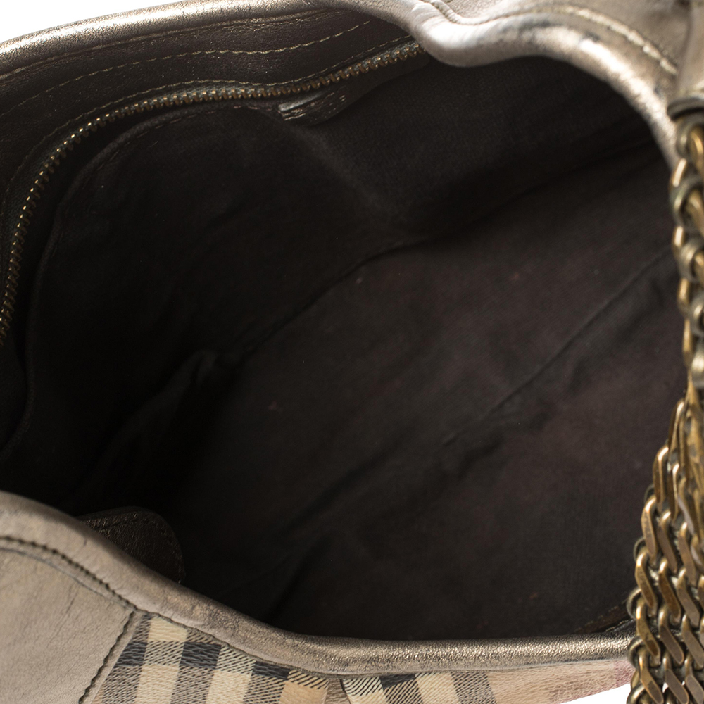 Burberry Beige/Metallic Haymarket Check PVC and Leather Chain Strap Hobo5