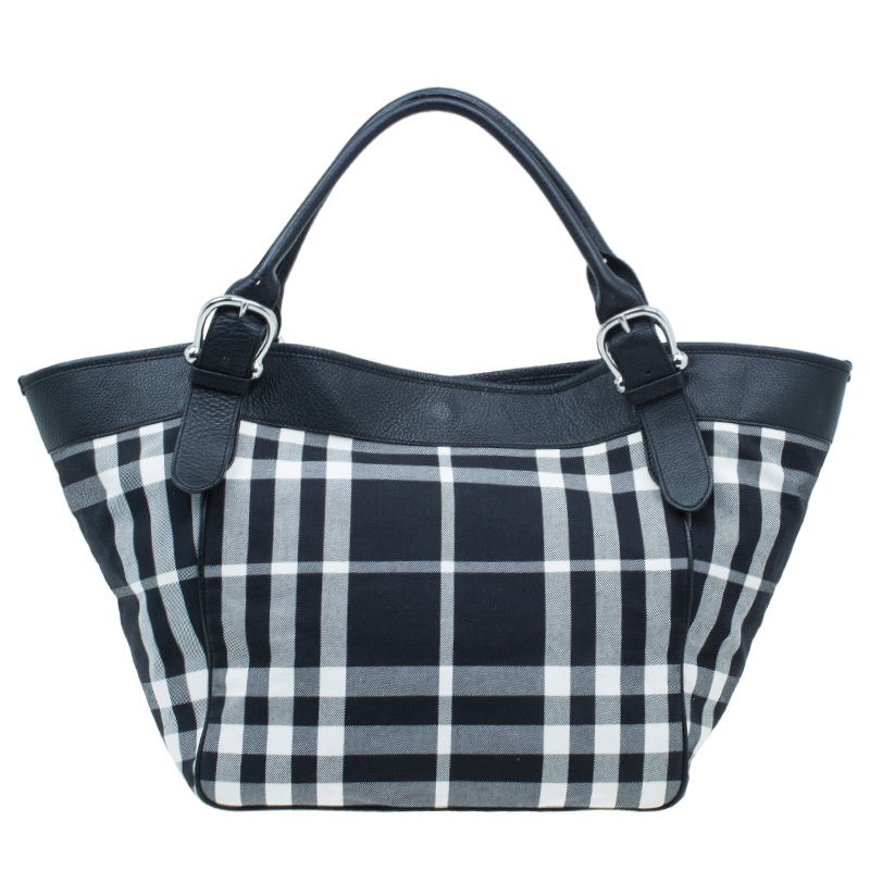 Burberry Black And White Large Ping Tote Bag