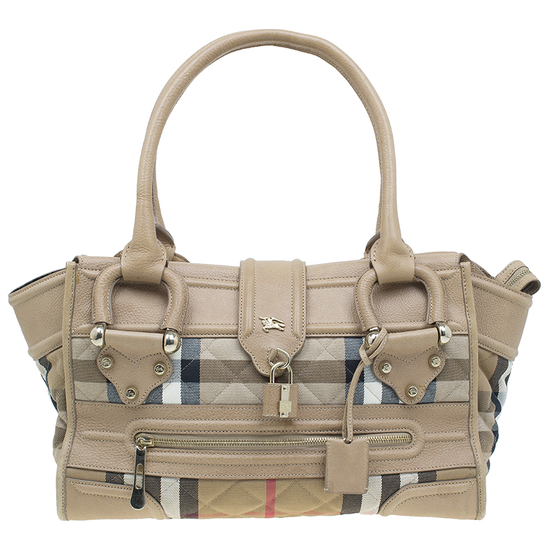 3ea323148 Buy Burberry Cream Quilted House Check Manor Satchel Bag 42486 at ...