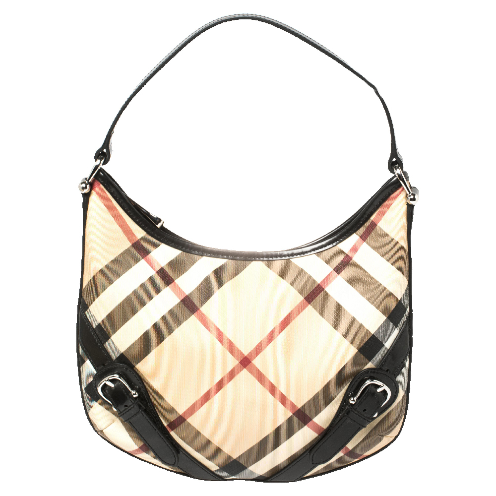 Pre-owned Burberry Beige/black Supernova Check Coated Canvas And Leather Larkin Hobo