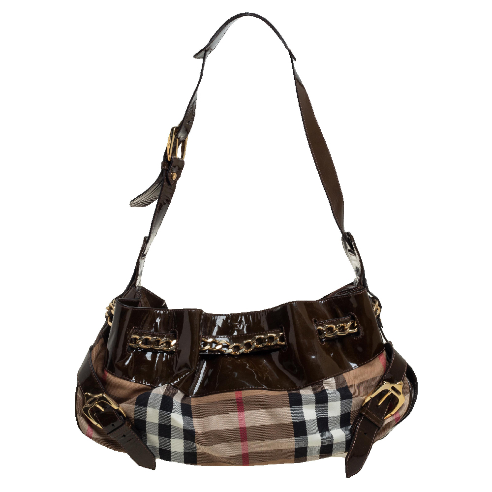 Pre-owned Burberry Dark Olive/beige House Check Canvas And Patent Leather Chain Around Hobo In Green