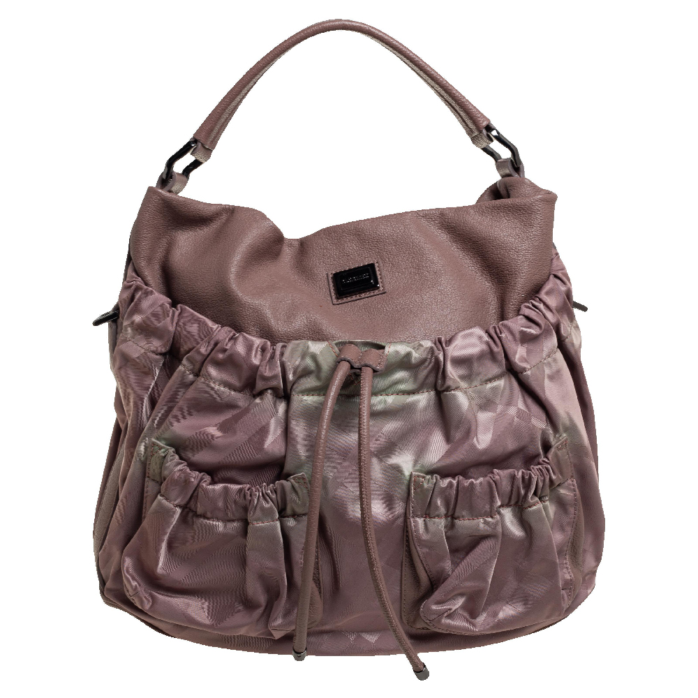 Pre-owned Burberry Old Rose Check Nylon And Leather Drawstring Front Pocket Hobo In Pink