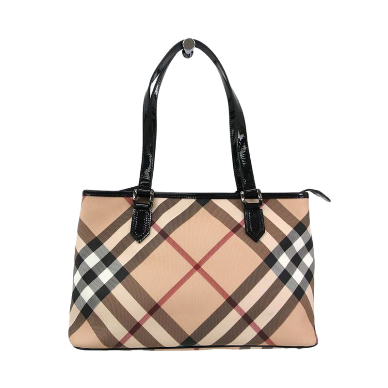 Buy Burberry Supernova Check Coated Canvas Nickie Tote 46961 at best price    TLC 3c688b465d