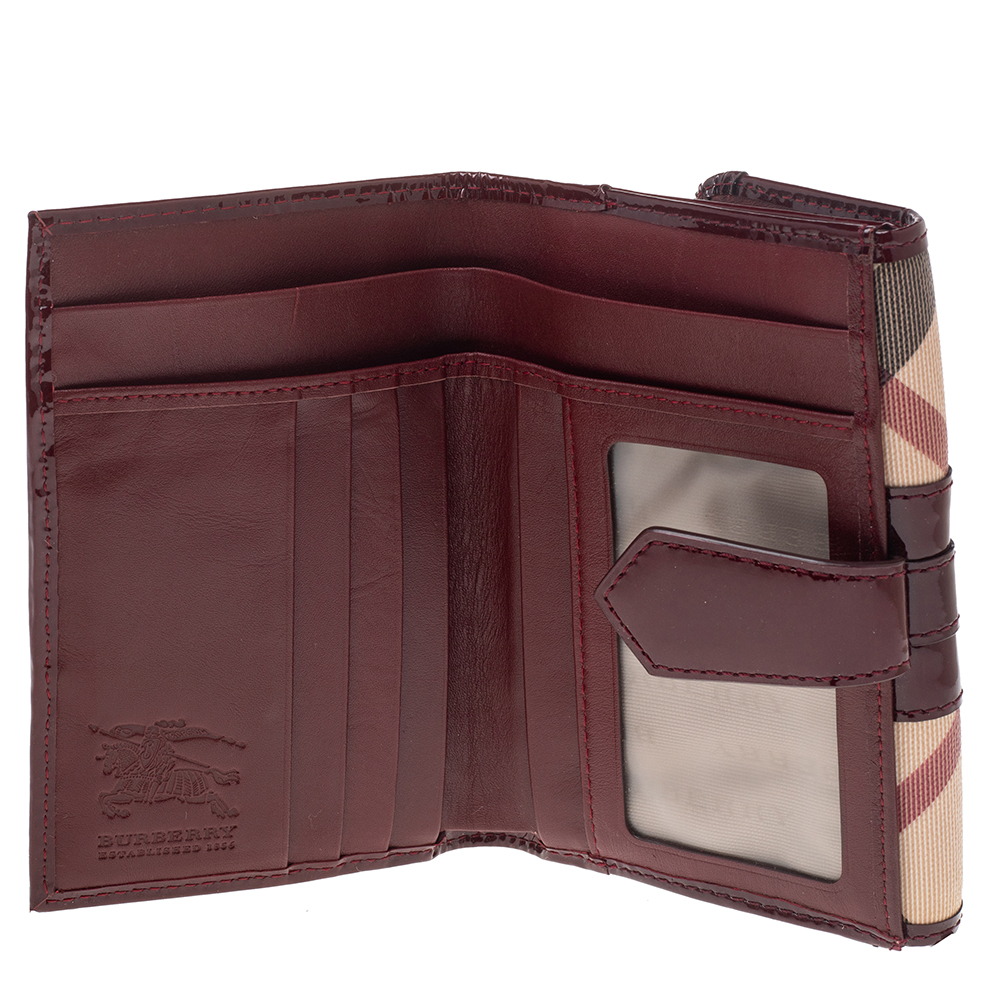 Burberry Burgundy/Beige Nova Check PVC and Patent Leather French Wallet