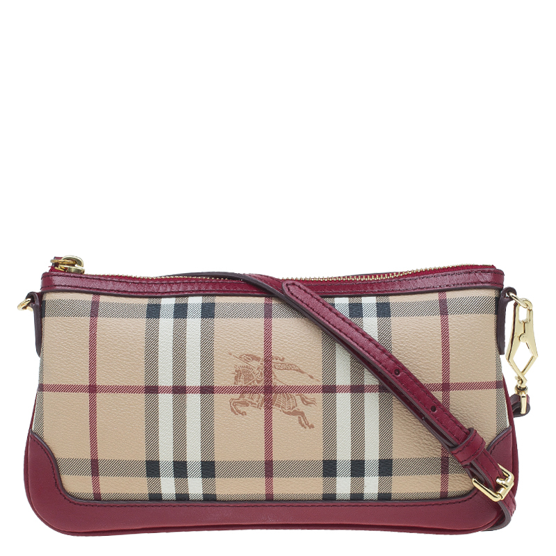ea3695c9c583 ... Burberry Red Beige Haymarket Check Coated Canvas Peyton Crossbody Bag.  nextprev. prevnext