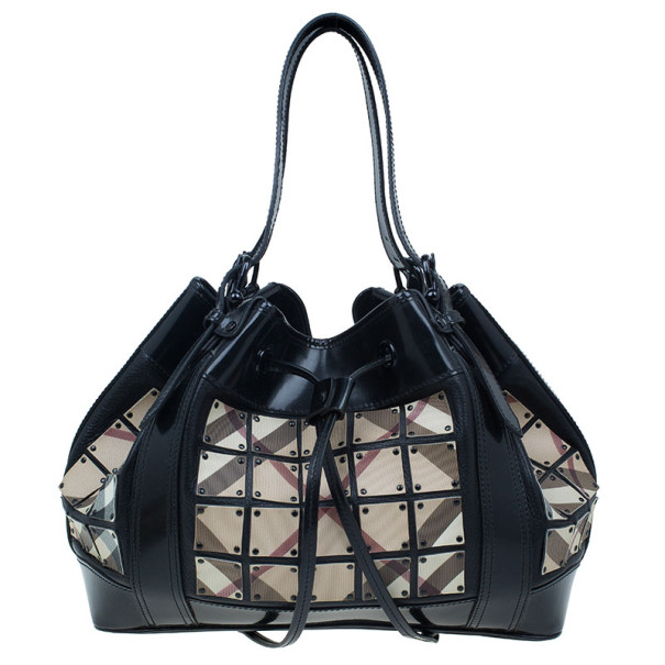 21eb9a603420 Buy Burberry Black Nova Check Leather Warrior Armor Hobo 8039 at best price