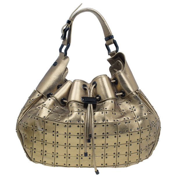 Buy Burberry Gold Leather Prorsum Studded Warrior Bag 8044 at best price    TLC 6542d499bb