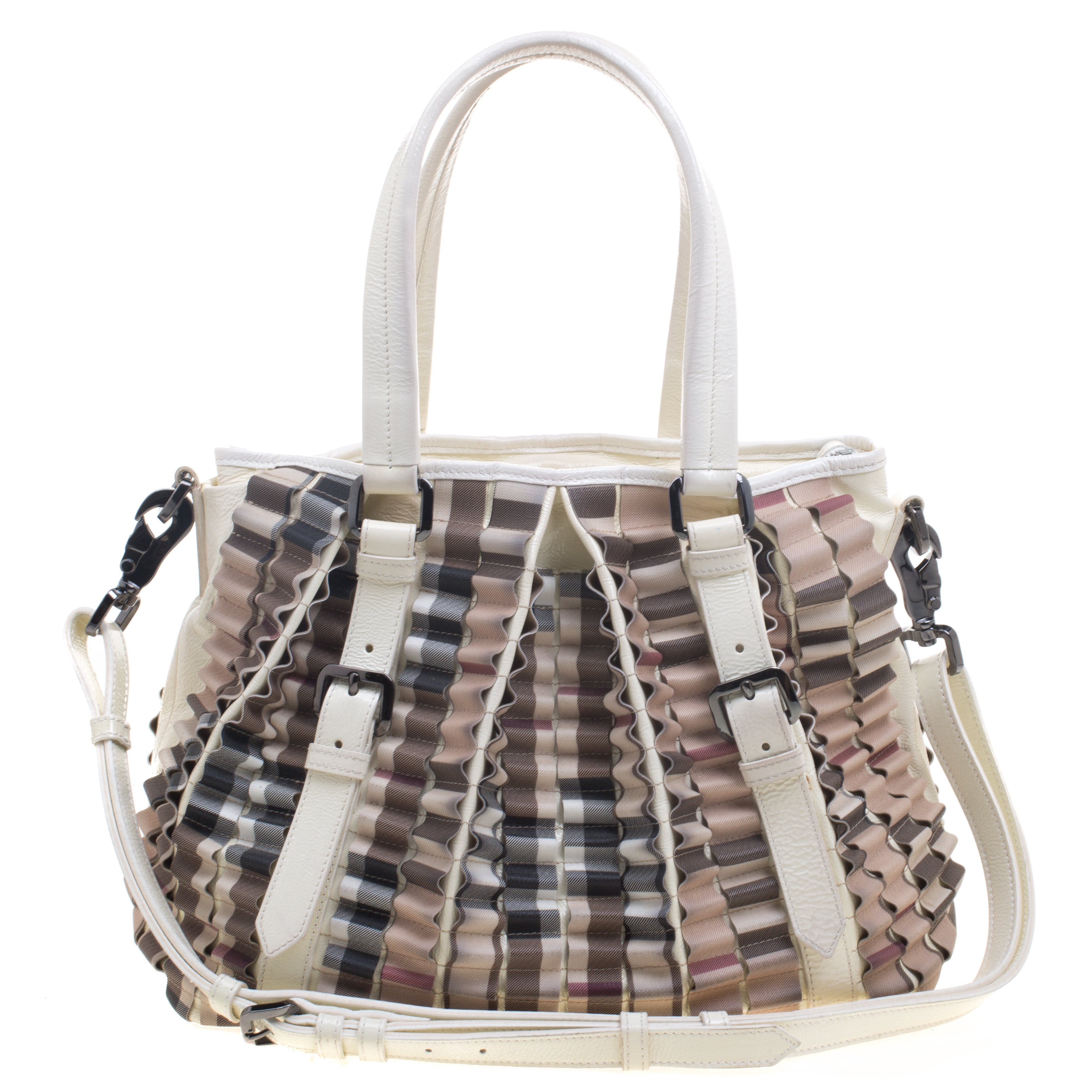 d06c00aaa383 Buy Burberry Cream Nova Check PVC Cartridge Pleat Tote 94365 at best ...