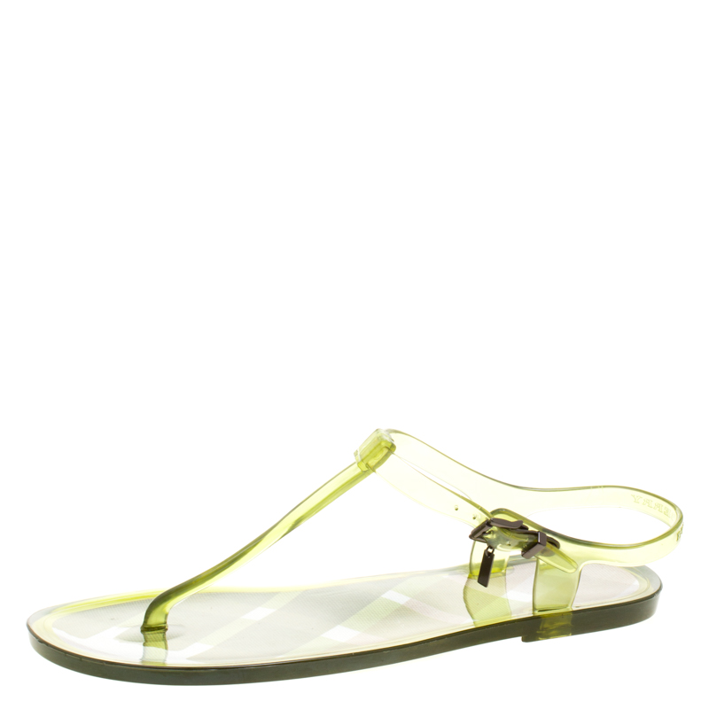 2a4f0cada38 Buy Burberry Green Jelly Thong Sandals Size 41 116603 at best price ...