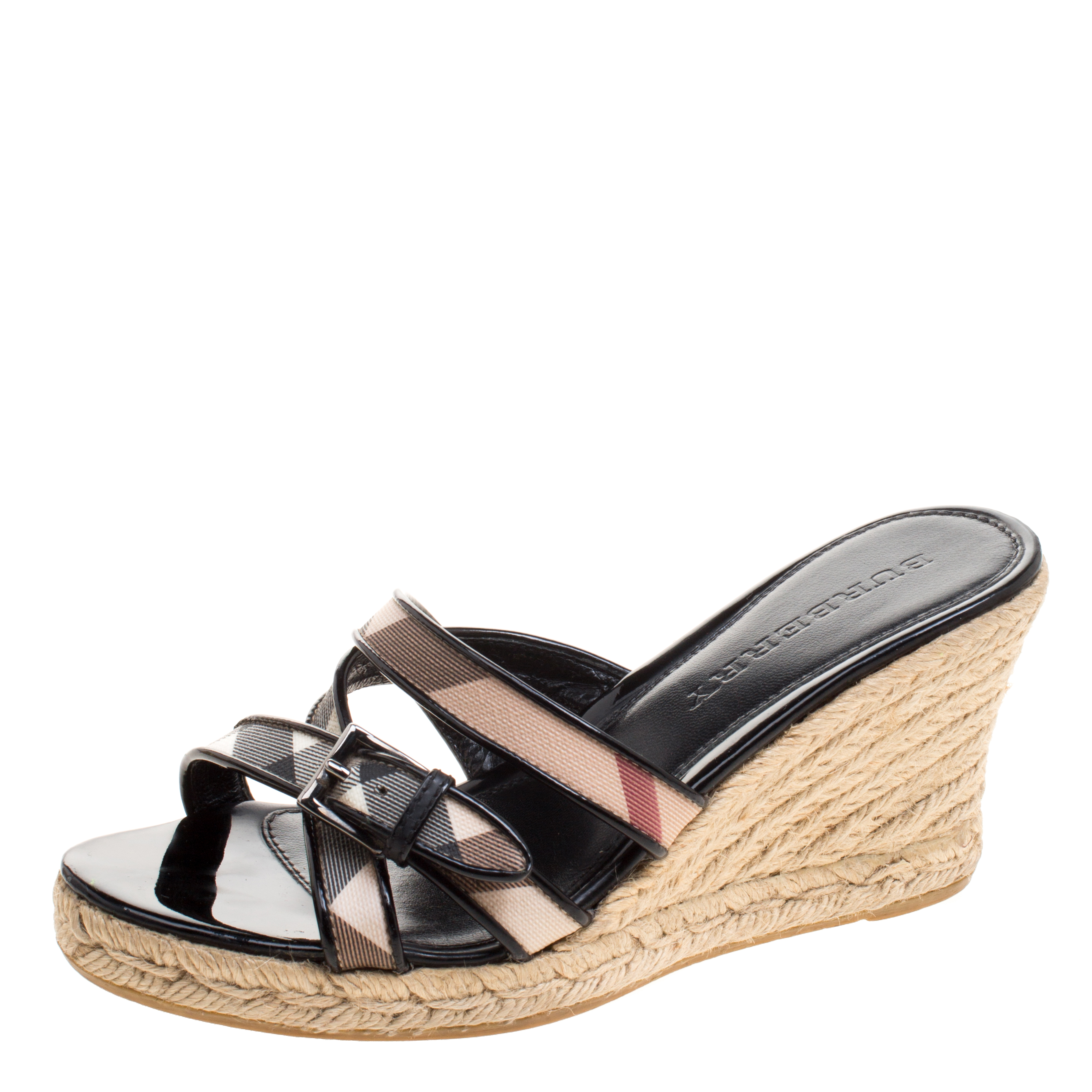 698c36b64 ... Burberry Black Patent Leather and Nova Check Canvas Espadrille Wedge  Sandals Size 37. nextprev. prevnext