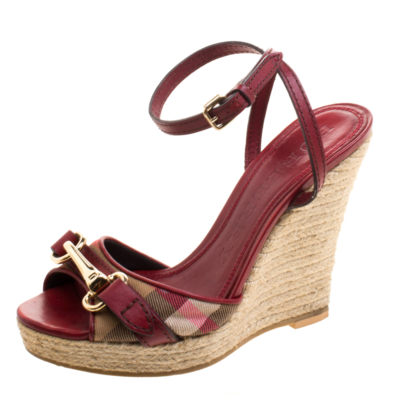 6565bb80318e Buy Burberry Nova Check Canvas and Leather Ankle Strap Espadrille ...