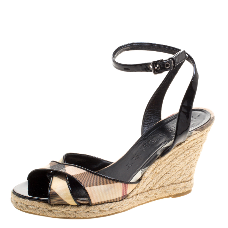 13eb87e77 ... Burberry Black Patent Leather and Novacheck Canvas Espadrille Wedge  Sandals Size 38. nextprev. prevnext