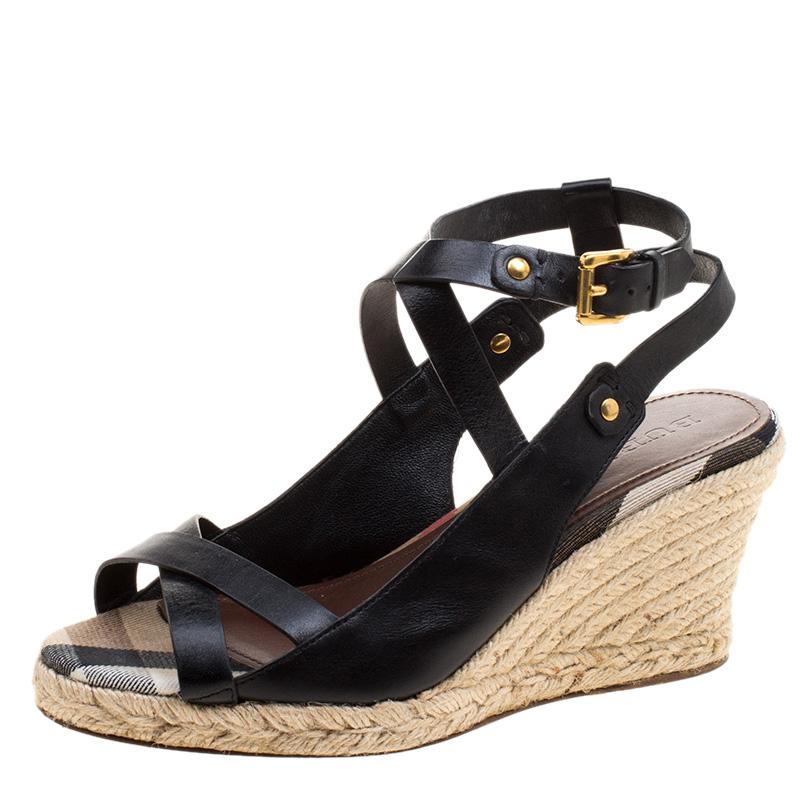 d34f9bce1 ... Burberry Black Leather Nova Check Espadrilles Wedge Slingback Sandals  Size 39. nextprev. prevnext