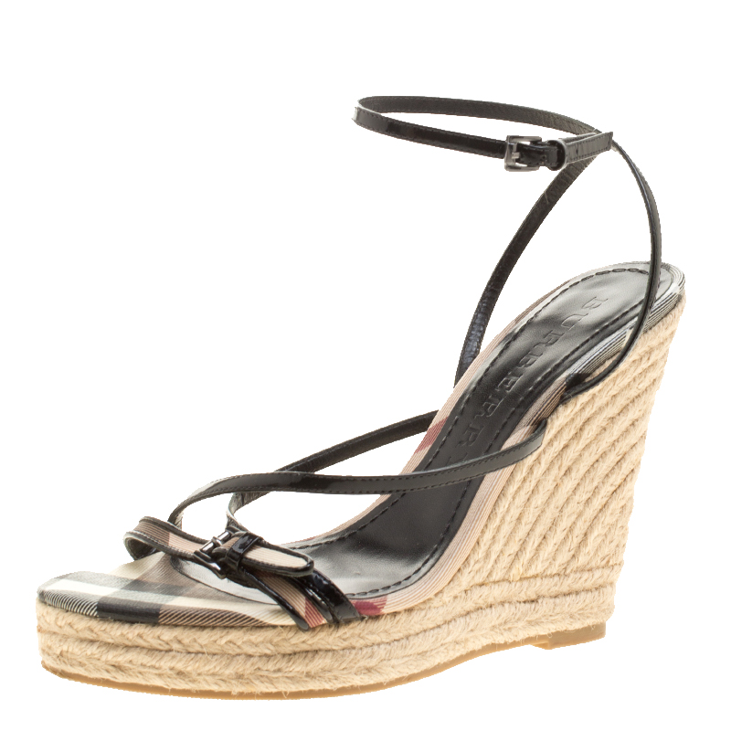 bb532e163 Buy Burberry Black Leather Cross Strap Espadrille Wedge Sandals Size ...