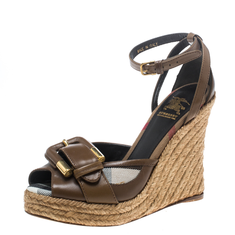 1a44b49e75d Burberry Brown Leather and Novacheck Canvas Buckle Detail Peep Toe  Espadrille Wedge Sandals Size 36