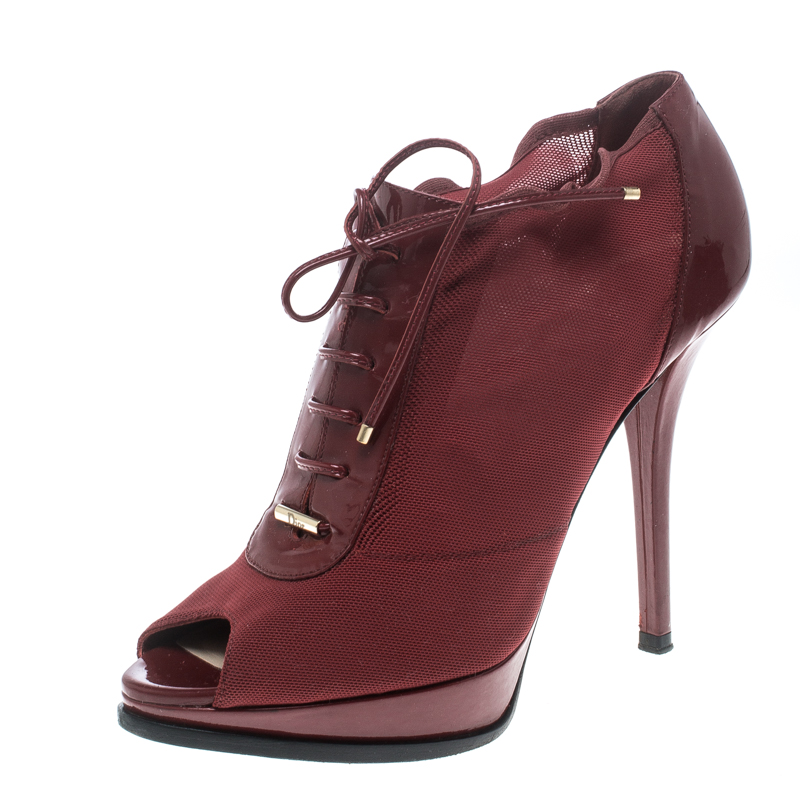 95b310925d28f ... Patent Leather Lace Up Peep Toe Ankle Booties Size 37. nextprev.  prevnext