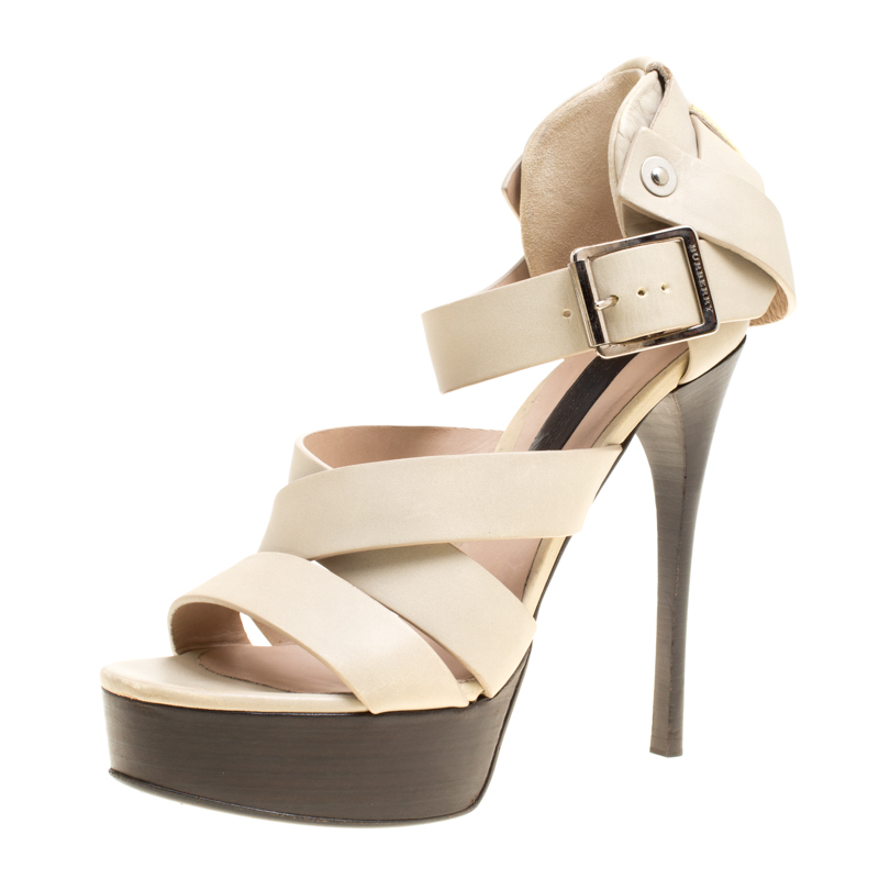 Купить со скидкой Burberry Prorsum Beige Leather Strappy Platform Sandals Size 37