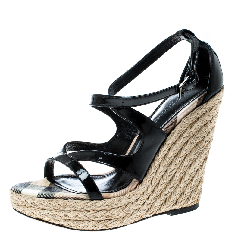 235be92c20a65 ... Size 36 Nextprev Prevnext. Burberry Black Patent Leather Espadrille  Wedges Cross Strap