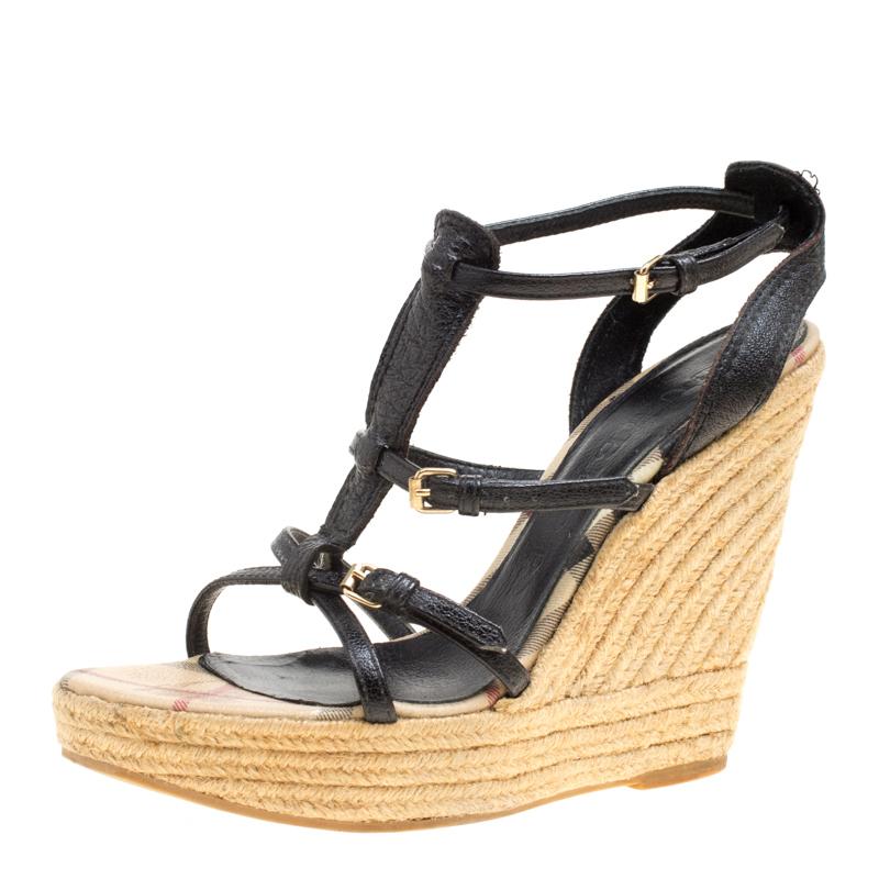 6ae161a55 ... Burberry Black Leather Espadrille Wedge Sandals Size 39. nextprev.  prevnext