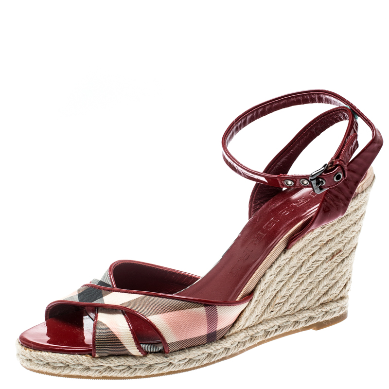 34764db64dd ... Burberry Red Patent Leather And Novacheck Canvas Espadrille Wedge  Sandals Size 40. nextprev. prevnext