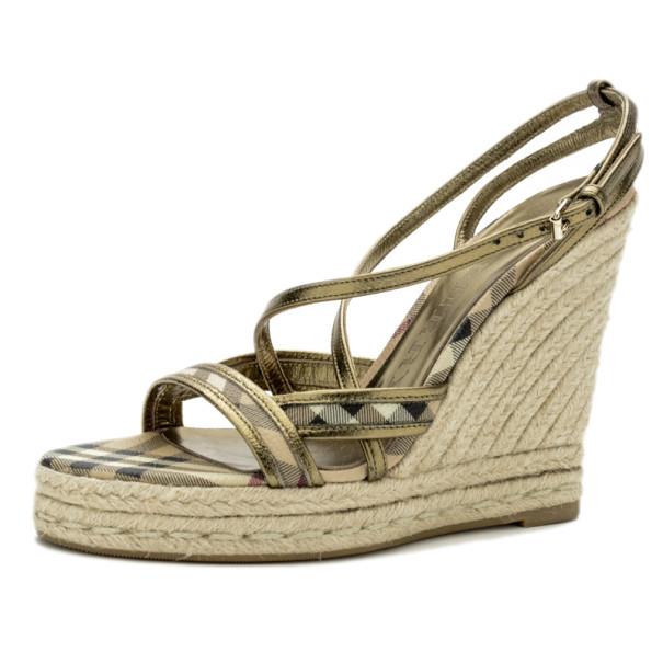 Burberry Novacheck Espadrilles Wedge Sandals Size 38