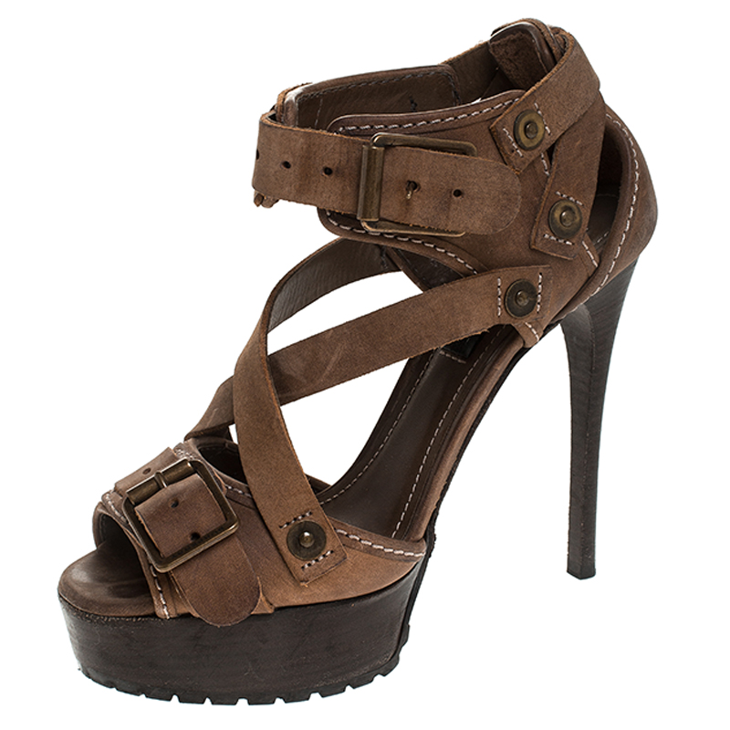 Burberry Brown Suede Buckle Detail Peep Toe Platform Sandals Size 37