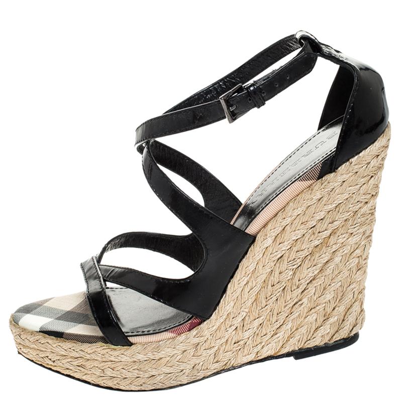 Burberry Noir Cuir Sangle Croisée Espadrille Wedge Sandals Taille 40