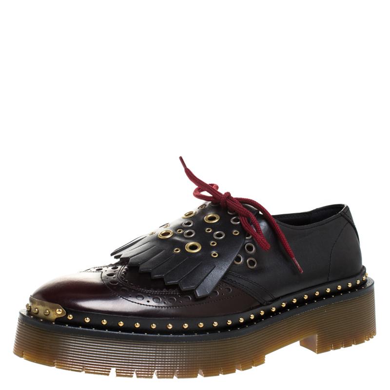 Burberry Two Tone Brogue Leather Bissett Fringe Detail Lace Up Platform Derby Size 41 In Black